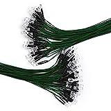 DiCUNO 100pcs diodi LED verdi da 5 mm con cavo da 24-25 cm (240-250 mm), luce precablata a LED 12V, con resistenza da 550Ω