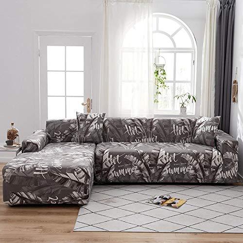 Funda Elástica para Sofá Cubierta del sofá Funda de sofá Funda elástica Protectora para sofá Material de poliéster de Bosque de plátano Blanco y Negro Viene con 3 Fundas de Almohada