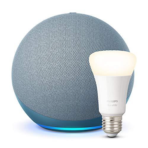 Nuevo Echo (4.ª generación), Azul grisáceo + Philips Hue White BombillaLED E27