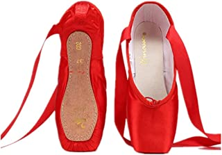 Nexete Professional Vanassa Ballet Pointe Shoes Satin Dance Slipper Flats with Toe Pad & Ribbon,Leather Sole,Resilient Shank Able to Reach Full Pointe for Girl Women