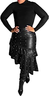 LKOUS Leather Skirts for Women PU Pearl Ruffle Asymmetrical Hem Knee Length Black Skirt Plus Size