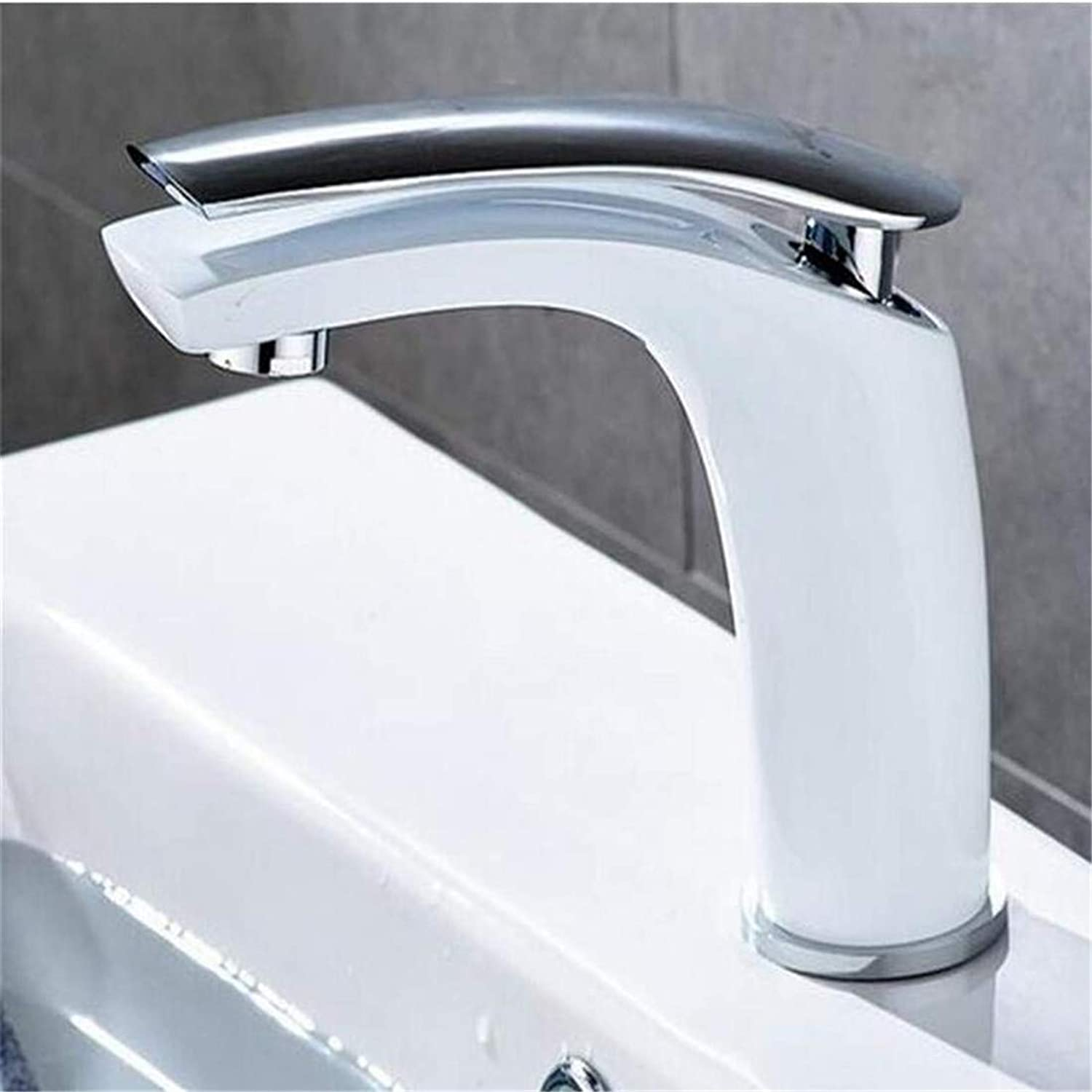 High Quality Kitchen Brass Stainless Steel Mixer White Face Single Holder Single Hole Mounted Sink Taps Cold and Hot Mixer
