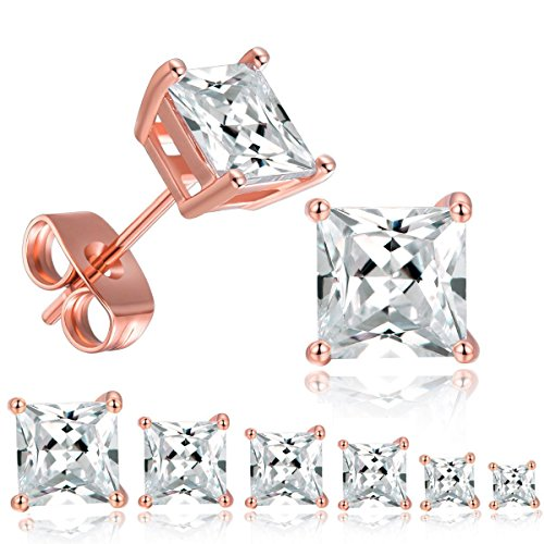 MDFUN 18K Rose Gold Plated Princess Cut Clear Cubic Zirconia Stud Earring Pack of 6 Pairs (5 Pairs)