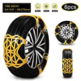 soyond Car Snow Chains 6 Pcs Emergency Tire Chains for Pickup Trucks Anti Slip Snow Chains for SUV Automotive Exterior Accessories Tire Chains(Tire Width 6.4-10.9' 165-275mm)