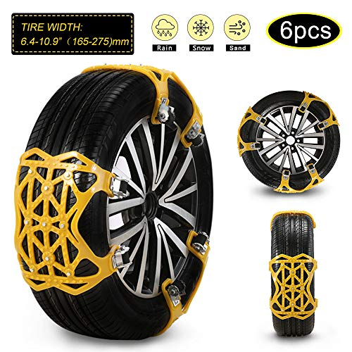 """soyond 2021 Newest Car Snow Chains 6 Pcs Emergency Tire Chains for Pickup Trucks Anti Slip Snow Chains for SUV Automotive Exterior Accessories Tire Chains(Tire Width 6.4-10.9"""" 165-275mm)"""