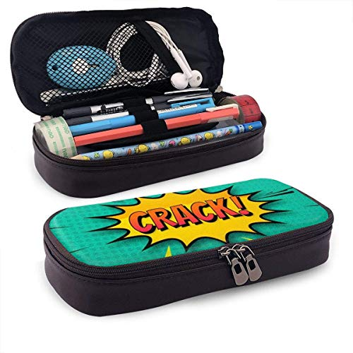 XCNGG Kosmetiktasche mit Federmäppchen Crack Comic Background PU Leather Pencil Case School Office Use Zipper Stationery Organizer
