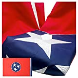 VSVO Tennessee Flag 3x5 Ft 300D Long Lasting Nylon Premium Outdoor Embroidered TN Flag, Sewn Stripes and Brass Grommets, UV Protected.