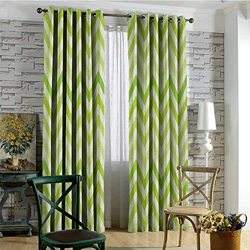 hengshu Lime Green 99% Blackout Curtains Chevron Traditional Zig Zag Pattern with Symmetric Lines Tribal Modern Pattern for Bedroom Kindergarten Living Room W72 x L96 Inch Pale Green