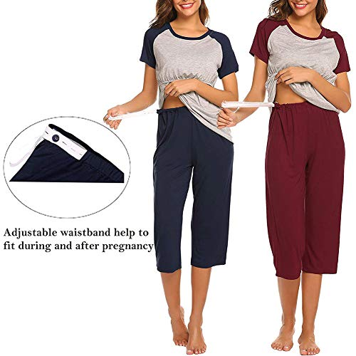 Still-Pyjama-Set für Damen, kurze Ärmel, Oberteil, 3/4-Hose, doppellagig, bequem, doppellagig, für Labor/Lieferung/Stillen, Schwangerschaftspyjama, Capri-Set (L, Blau)