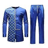 VEZAD Men Tracksuit Autumn Spring Luxury African Print Long Sleeve Dashiki Shirt Suit Dark Blue