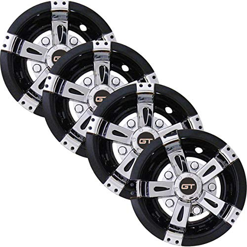 GT Golf Cart Hubcaps 8 inch Set of 4 Universal Golf Cart Wheel Covers in Brilliant Chrome and Gloss Black Finish -...