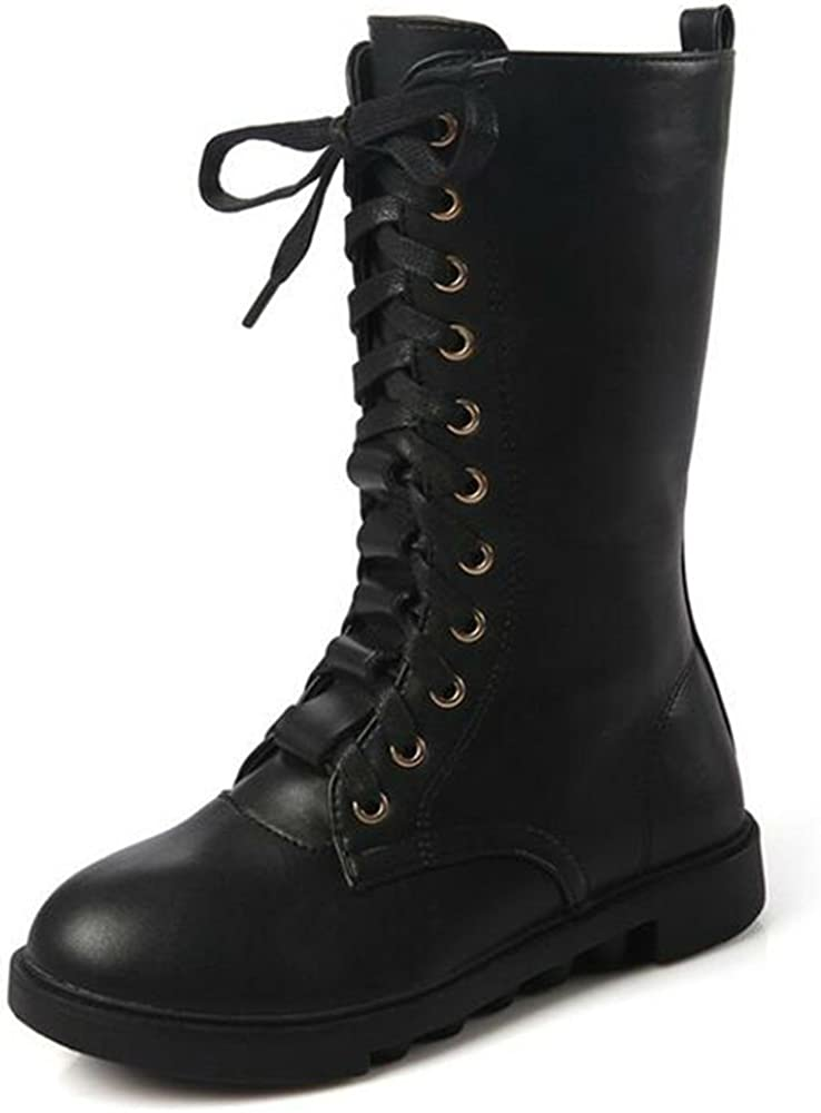 DADAWEN Kid's Girls Leather Lace-Up Calf Combat Mid Soldering Ridin Zipper Max 54% OFF
