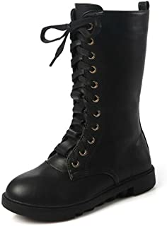 Kid's Girls Leather Lace-Up Zipper Mid Calf Combat Riding Winter Boots (Toddler/Little Kid/Big Kid)