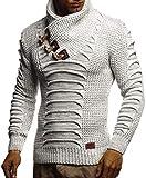 Leif Nelson Herren Strickpullover Pullover Schalkragen Slim Fit Pullover für Winter moderner Männer Pulli Sweatshirt Langarm Hoodie-Shirt in schwarz LN5575 M Ecru-Grau