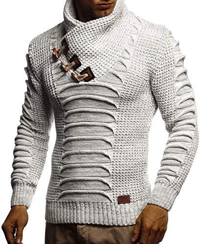 Leif Nelson Herren Strickpullover Pullover Schalkragen Slim Fit Pullover für Winter moderner Männer Pulli Sweatshirt Langarm Hoodie-Shirt in schwarz LN5575 XL Ecru-Grau