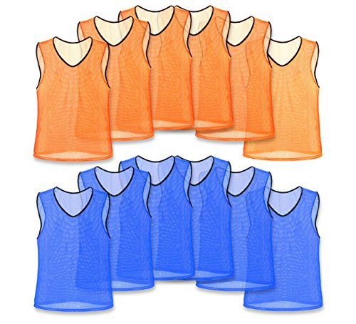Unlimited Potential Nylon Mesh Scrimmage Team Practice Vests Pinnies Jerseys Bibs for Children Youth Adult Sports Basketball, Soccer, Football, Volleyball (Pack of 12) (6 Orange / 6 Blue, Adult)