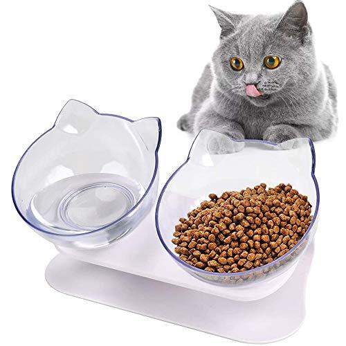 Ciotole Per Gatti,Ciotola Gatto,Doppio Gatto Ciotola Con Supporto, Riduce La Pressione Sulle Vertebre Cervicali Del Gatto,15°Inclinato Ciotole,Per Animali Ciotola Per Gatti e Cuccioli (Trasparente)