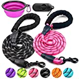 COOYOO 2 Pack Dog Leash 5 FT Heavy Duty - Comfortable Padded Handle - Reflective Dog Leash for Medium Large Dogs with Collapsible Pet Bowl
