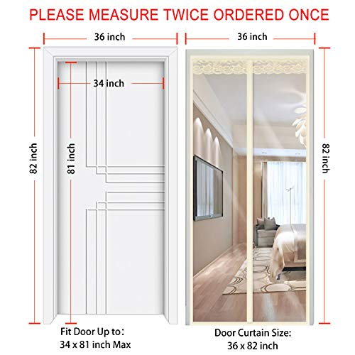 Insulated Door Curtain-Magnetic Thermal Door Cover,Block Draft Out in Winter,Keep Cool in Summer,Hand Free Closure-for Kitchen/Air Conditioner Room/Patio(36 x 82 inch, Beige Transparent Styles)