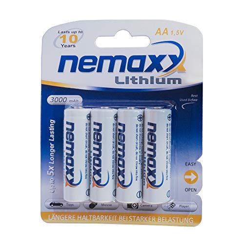 1x Blister (4 Stück) Nemaxx 1,5V AA Lithium Batterie für Rauchmelder 10 Jahre Lebensdauer