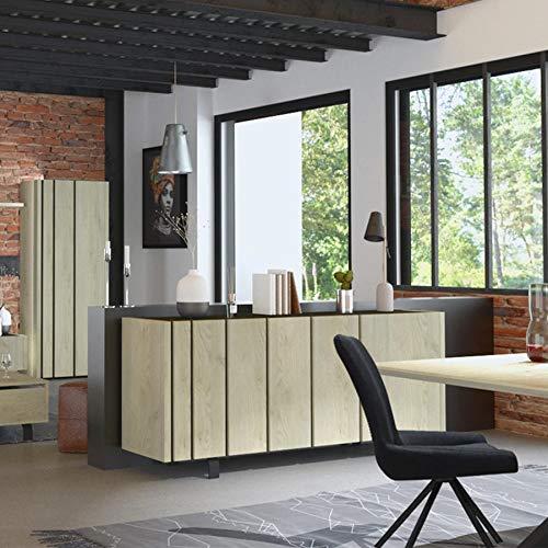 Dressoir 3 deuren industriële kleur hout en betoneffect Kara