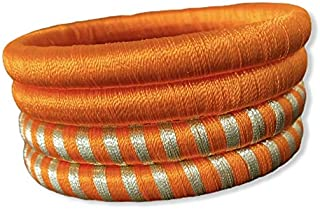 Handcrafted Elegant Colorful NO STONE Simple Ethnic Silk Thread Bangles for Women 4PC set