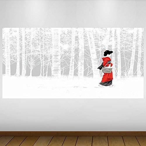 LagunaProject Extra Grande White Forest Geisha Japonesa Naturaleza Vinilo Póster - Mural Decoración - Etiqueta de la Pared -140cm x 70cm