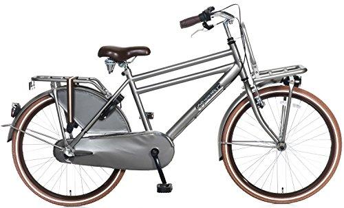 Kinderfiets 24 inch Popal Daily Dutch Basic 24 Shimano Nexus 3 versnellingen koplamp LED frame en vergrendeling van de fiets 95% gemonteerd grijs