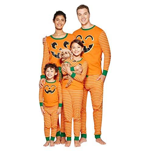 K-youth Ropa de Casa Familia Conjunto de Pijamas Familiares Unisexo Calabaza Raya Pijamas de Halloween Familiares Ropa de Dormir Padre Hijo Manga Larga Tops y Pantalones Largos(Niña, 2-3 años)