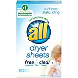 Product Image of the all Fabric Softener Dryer Sheets for Sensitive Skin, Free Clear, 80 Count