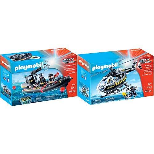 Playmobil 9362 - SEK-Schlauchboot Spiel &  9363 - SEK-Helikopter Spiel