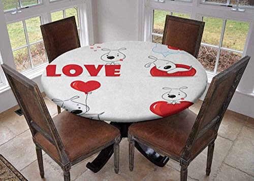 """Round Tablecloth Kitchen Decoration,Table Cover with Elastic Edges,Diameter 70"""",Set of Funny Dogs with Heart Symbols My Pet Best Friends Ever Animal Valentines Theme Red White,Can Wipe Tablecloth"""