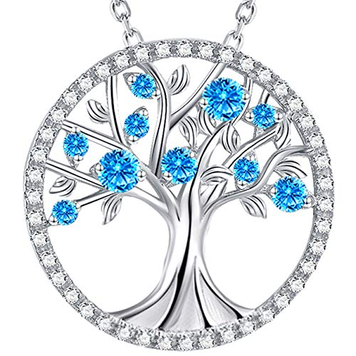 Birthday Gifts for Wife Mom Tree of Life Necklace March Birthstone Blue Aquamarine Jewelry for Her Sterling Silver Necklace