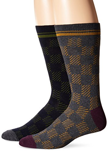 Ben Sherman Men's Colin Gradient Square Thick Crew Socks, Charcoal/Navy, Sock Size:10-13/Shoe Size: 6-12 (Pack of 2)