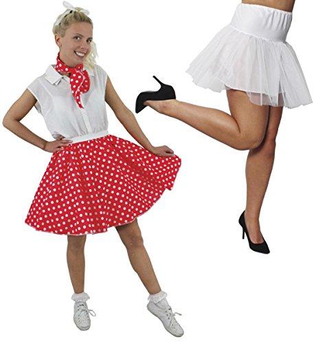 Disfraz de lunares para mujer, falda corta de lunares rojos, con bufanda a juego y ropa interior blanca (rojo con lunares blancos y falda blanca – 40)