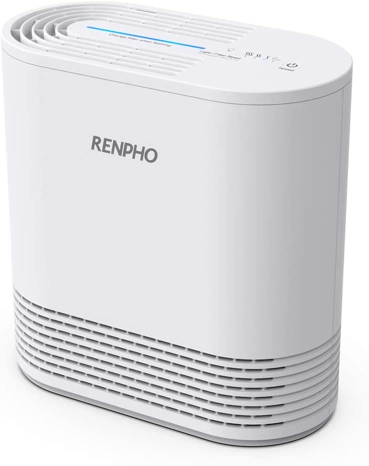 RENPHO Air Purifier for Home Bedroom Allergies and Pets Hair, H13 True HEPA Filter, Eliminate 99.97% Odors Smoke Mold Pollen Dust with 3-Stage Filtration System, No Ozone