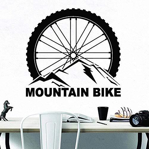 Pegatinas De Pared Pegatinas De Bicicleta De Montaña Deportes Extremos Rueda De Bicicleta Vinilo Autoadhesivo Pared Adolescentes Decoración De Interiores Murales-62X57Cm_Black