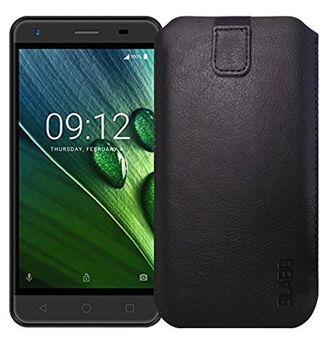 Slabo Schutzhülle für Acer Liquid Z6 Schutztasche Handyhülle Hülle mit Magnetverschluss aus Kunstleder - SCHWARZ | Black