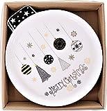 2 Stück Weihnachts-Teller/Keks-Platten/Servier-Geschirr Merry Christmas mit Tannen-Bäumen & Christbaum-Kugeln/Plätzchen-Teller, Weihnachts-Deko, Geschenk-Set, Geschirr