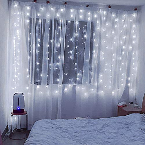 Hopolon Window Curtain Lights, 8 Modes Plug in Twinkle Fairy Lights, Outdoor Indoor String Lights Wedding Party Home Garden Bedroom Wall Decorations,UL Certified (Cool White)