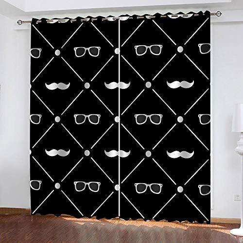xczxc Niños Cortinas Opaco Barba de Gafas Negras 3D Salon Cortina Aislantes Termicas Dormitorio Cortinas Reducir El Ruido Oficina, Cortina Decorativa Moderna 2X 117x 138 cm (An x Al)