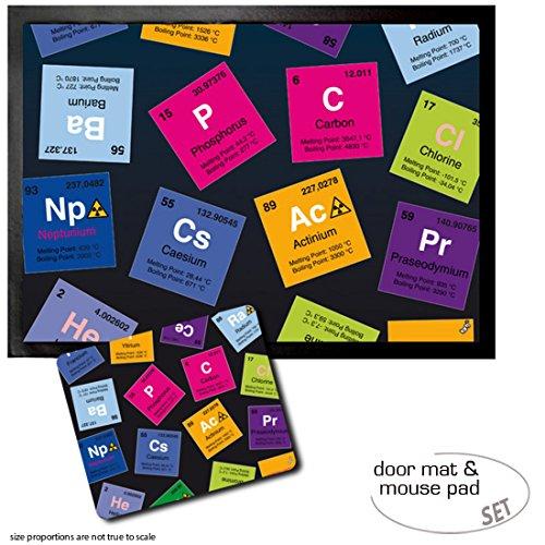 1art1 Periodensystem Der Elemente, Kohlenstoff, Barium, Brom, Radium, In Englisch Fußmatte Türmatte (70x50 cm) + Mauspad (23x19 cm) Geschenkset