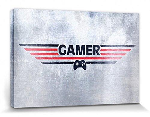 1art1 Gaming - Gamer Cuadro, Lienzo Montado sobre Bastidor (30 x 20cm)