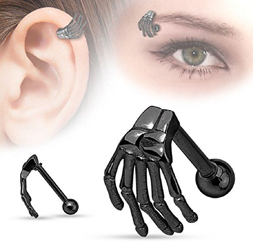 Yuren Punk Gothic Stainless Steel Skull Claw Ear Helix Stud Skeleton Ghost Hand Earrings Nose Ring Eyebrow Nail (Black)