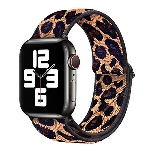 Correa de bucle de nailon suave bohemio para Apple Watch, correa de hebilla elástica para iWatch Series 6 / SE / 5/4/3/2/1-Cheetah print, 38 mm o 40 mm