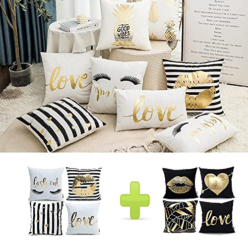 Monkeysell Pack of 4 Black and Gold Throw Pillow Cover and 4 Pack of Black Pillow Cases for Home Bed Couch Sofa Car 18 x 18 Inches