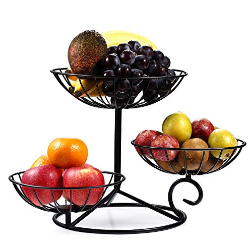 TREEZITEK 3-Tier Fruit Basket Holder Decorative Fruit Bowl Stand,Black