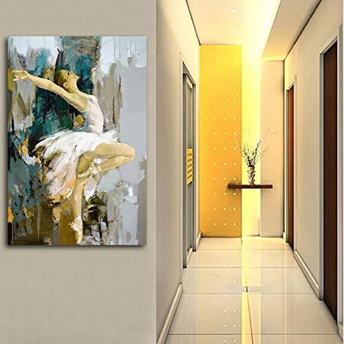 wZUN Baile de Ballet en Vestido Blanco ilustración Lienzo Pintura Hermosa Mujer Cartel e Impresiones decoración del hogar Arte de la Pared imágenes 60X90 Sin Marco