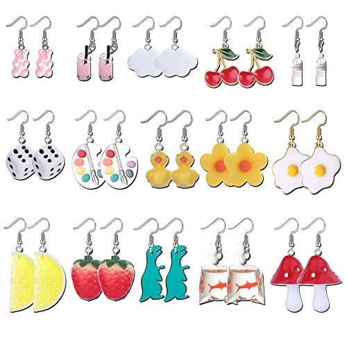 UBGICIG Juego de 15 pares de pendientes bonitos con diseño de setas y peces de colores y botella de agua con forma de oso