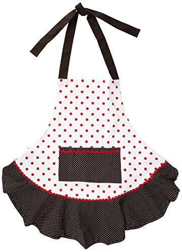 DII CBBB85478 - Delantal de algodón para mujer con bolsillo de cocina y lazos extra largos, 24 x 30 cm, bonito delantal de volantes para cocinar, hornear, perfecto día de la madre, lunares negros y rojos